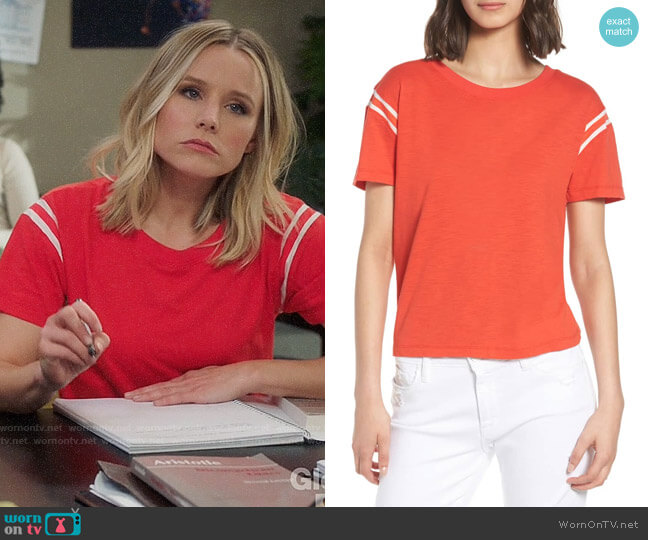 Pam & Gela Football Tee worn by Eleanor Shellstrop (Kristen Bell) on The Good Place