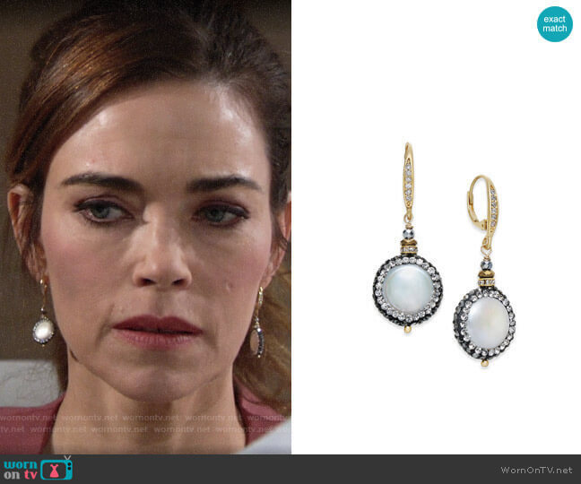 Paul & Pitü Naturally Two-Tone Freshwater Pearl & Crystal Pavé Drop Earrings  worn by Victoria Newman (Amelia Heinle) on The Young & the Restless