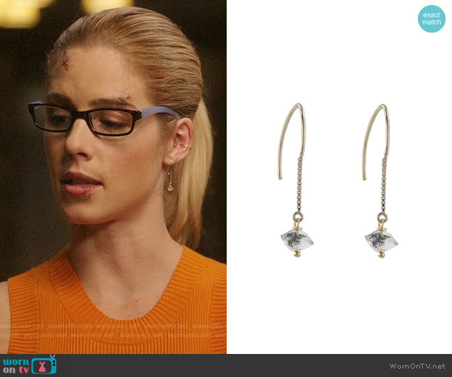 Peggy Li Half Herkimer Threader Earrings worn by Felicity Smoak (Emily Bett Rickards) on Arrow