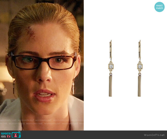 Peggy Li CZ Bar Earrings worn by Felicity Smoak (Emily Bett Rickards) on Arrow