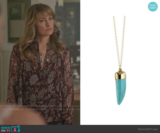 Peggy Li Turquoise Horn Necklace worn by Alice Cooper (Mädchen Amick) on Riverdale