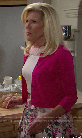 Pam's pink pearl neck top and floral skirt on The Bold and the Beautiful