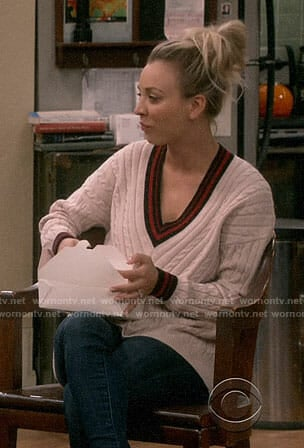 Penny's cable knit varsity sweater on The Big Bang Theory