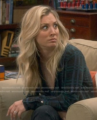 Penny's black plaid blouse on The Big Bang Theory