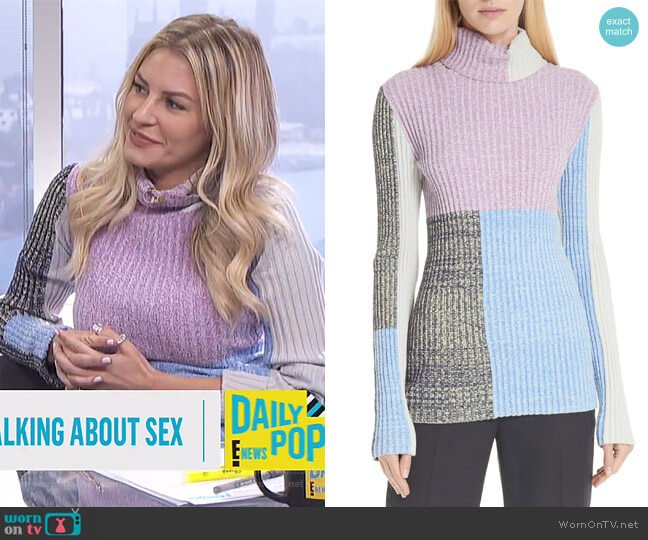 Morgan's colorblock sweater on E! News Daily Pop