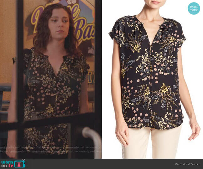 Split Neck Rolled Sleeve Tee by Philosophy Apparel worn by Rebecca Bunch (Rachel Bloom) on Crazy Ex-Girlfriend
