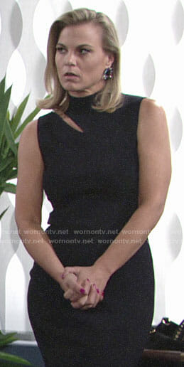 Phyllis's black dress with shoulder cutout on The Young and the Restless
