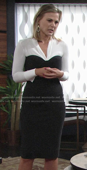 Phyllis's black and white long sleeved dress on The Young and the Restless