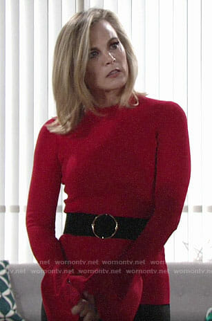 Phyllis's red bell sleeve top on The Young and the Restless