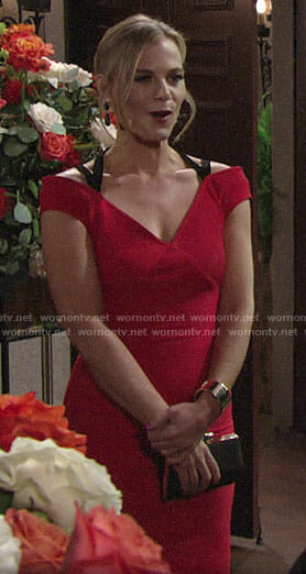 Phyllis's red dress at Sharon's wedding on The Young and the Restless
