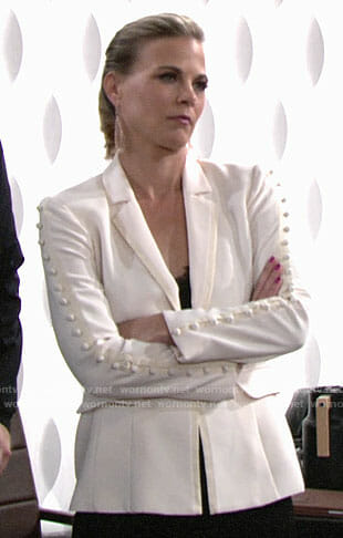Phyllis's white buttoned sleeve blazer on The Young and the Restless