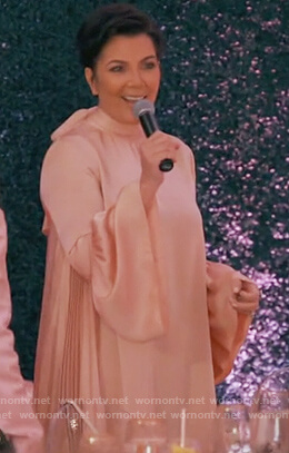Kris's pink pleated bell sleeve dress on Keeping Up With the Kardashians