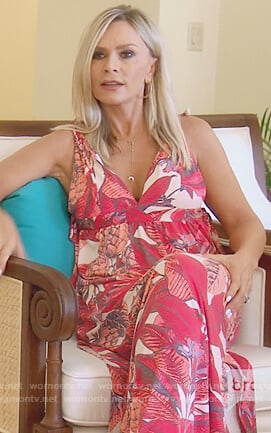 Tamra's pink floral print maxi dress on The Real Housewives of Orange County