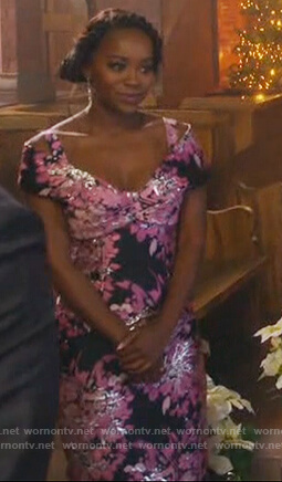 Michaela's floral metallic cold shoulder dress on How to Get Away with Murder