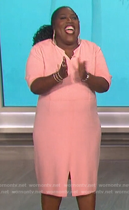 Sheryl's pink front slit dress on The Talk