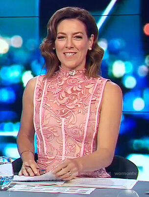 Gorgi's pink sleeveless lace dress on The Project
