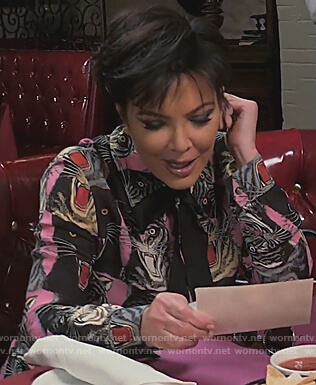 Kris's pink panther print blouse on Keeping Up with the Kardashians