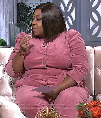 Loni's pink puff sleeve jumpsuit on The Real