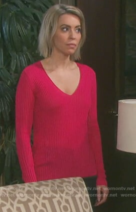 Mimi's pink ribbed sweater on Days of Our Lives