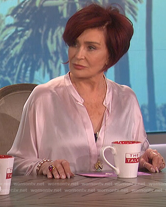 Sharon's pink satin v-neck blouse on The Talk