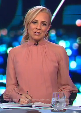 Carrie's pink gathered neck top on The Project