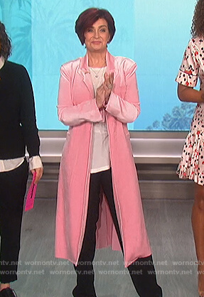 Sharon's pink velvet coat on The Talk