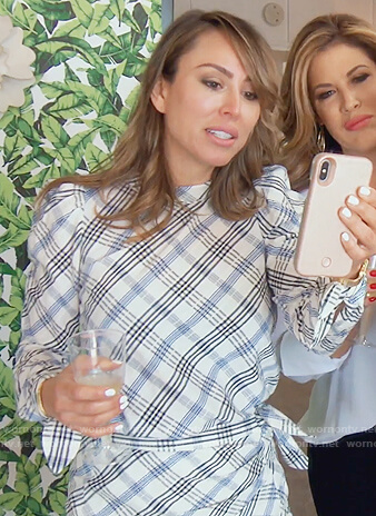 Kelly's white plaid top and mini skirt on The Real Housewives of Orange County