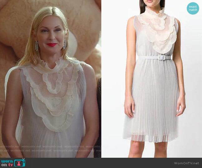 High-Neck Pleated dress by Prada worn by Melissa Daniels (Kelly Rutherford) on Dynasty