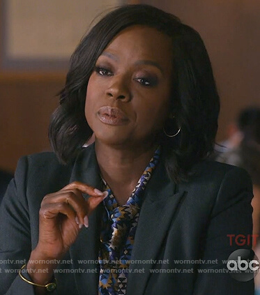 Annalise's blue print tie neck top on How to Get Away with Murder