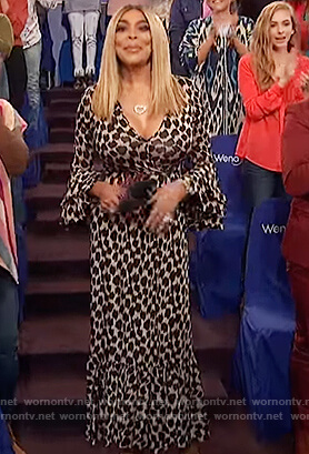 Wendy's leopard print bell sleeve dress on The Wendy Williams Show