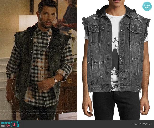 PRPS Denim Vest Jacket with Hoodie Combo worn by Sam Flores (Rafael de la Fuente) on Dynasty