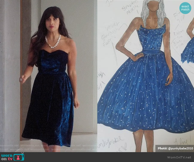 Whitney Mitchell Custom Made Velvet Dress worn by Tahani Al-Jamil (Jameela Jamil) on The Good Place