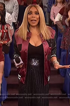 Wendy's purple bomber jacket and sequin skirt on The Wendy Williams Show