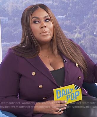 Nina's purple double breasted blazer on E! News Daily Pop