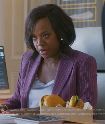 Annalise's purple pinstripe blazer on How to Get Away with Murder