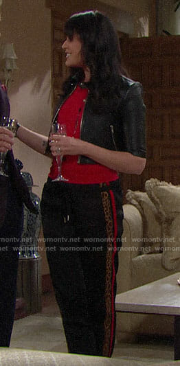 Quinn's cropped leather jacket and leopard stripe pants on The Bold and the Beautiful