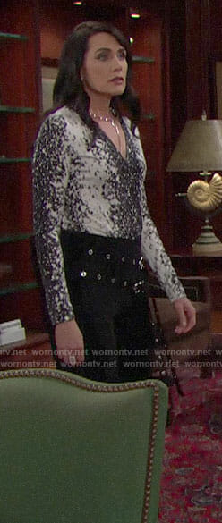 Quinn's black and white printed top and double belt pants on The Bold and the Beautiful