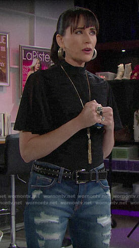 Quinn's black ruched top on The Bold and the Beautiful