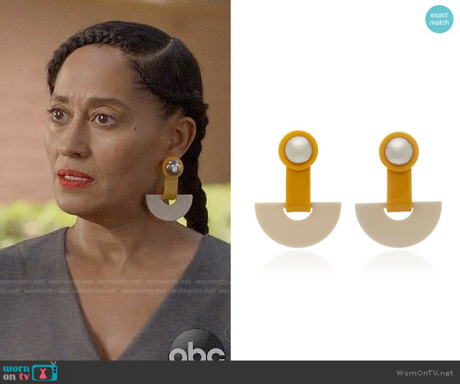 Rachel Comey Zora Earrings worn by Rainbow Johnson (Tracee Ellis Ross) on Blackish