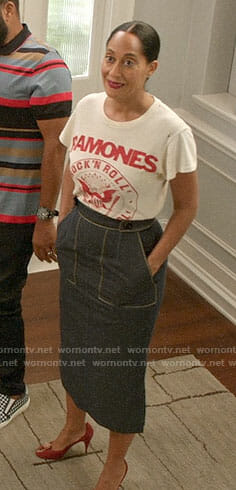 Bo's Ramones tee and denim midi skirt on Black-ish