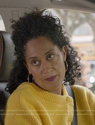Bo's yellow buttoned sweater on Black-ish