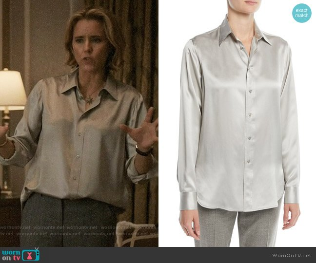Ralph Lauren Collection Bacall Blouse worn by Elizabeth McCord (Téa Leoni) on Madam Secretary