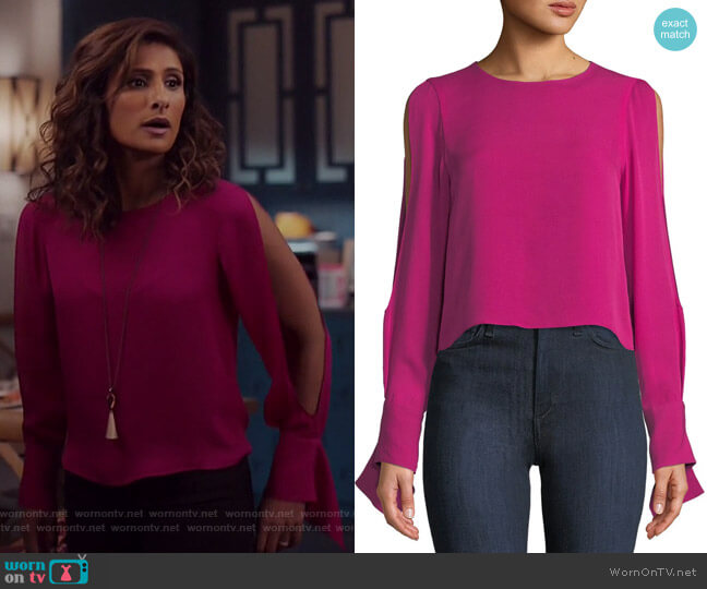 Addy Blouse by Ramy Brook worn by Sarayu Blue on I Feel Bad