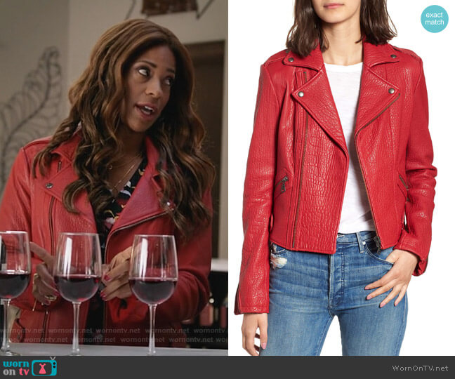 Wolf Leather Moto Jacket by Rebecca Minkoff worn by Poppy (Kimrie Lewis) on Single Parents