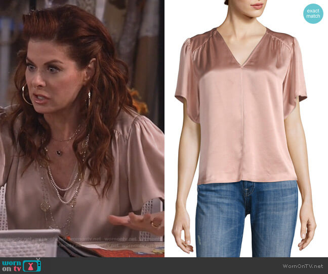Flutter-Sleeve Charmeuse Blouse by Rebecca Taylor worn by Grace Adler (Debra Messing) on Will & Grace