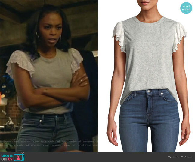 Samira Lace Flutter-Sleeve Crewneck Tee by Rebecca Taylor worn by Anissa Pierce (Nafessa Williams) on Black Lightning