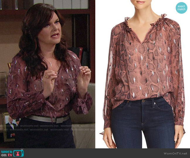 Rebecca Taylor Snake-Print Ruffle-Trim Top worn by Heather Tom on The Bold & the Beautiful