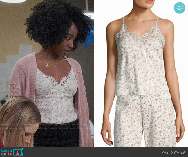 Rebecca Taylor Floral Vine Lace Cami worn by Kirby Howell-Baptiste on The Good Place