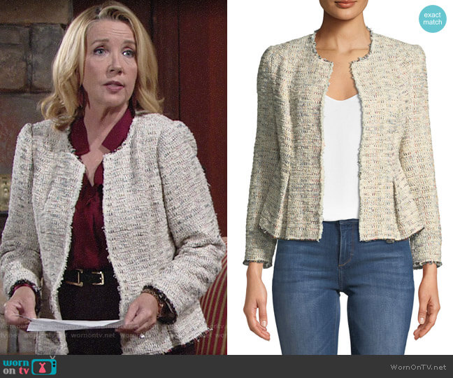 Rebecca Taylor Rainbow Tweed Jacket worn by Nikki Reed Newman (Melody Thomas-Scott) on The Young & the Restless