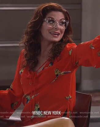 Grace's red bird print top on Will and Grace